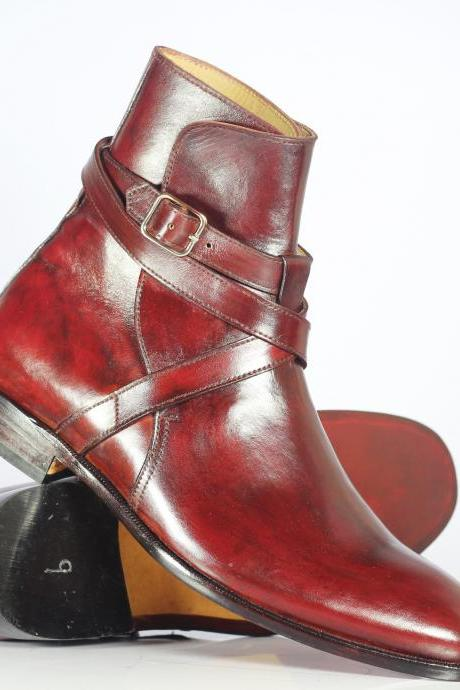 Handmade Men's Ankle High Burgundy Leather Jodhpurs Boots