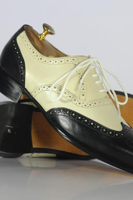 Men's Black White Leather Shoes, Men's Wing Tip Formal Shoes
