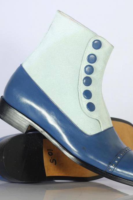 Men's Ankle High White & Blue Cap Toe Leather Suede Button Top Boot