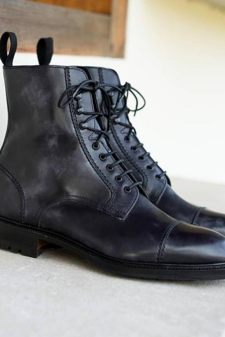 Handmade Black Cap Toe Boot Men's Dress Ankle Leather Stylish Boot