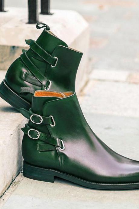 Handmade Green Buckle Boot Men's Dress Ankle Leather Stylish Boot