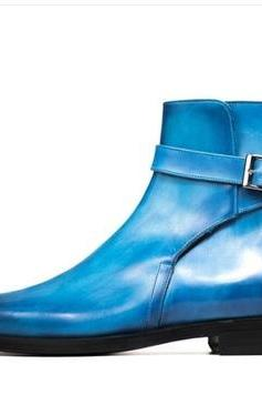 Handmade Blue Jodhpurs Boot Men's Dress Ankle Leather Stylish Boot