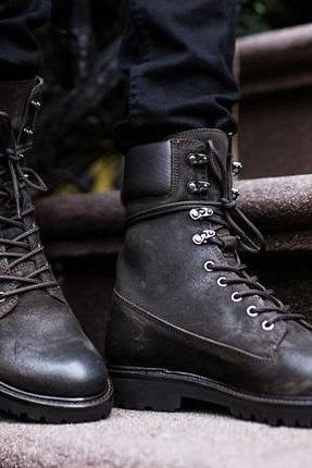 Handmade Men black Military boots, Men black high ankle combat boots, Men boot