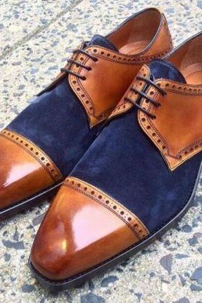 Handmade Blue & Brown Oxfords Leather Suede Shoes, Lace up shoes, Dress Shoes, Men's Shoes