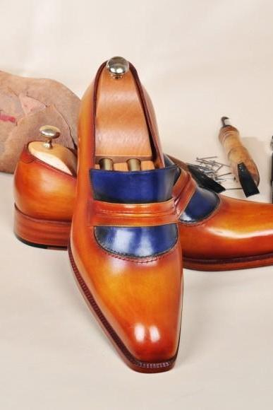 Handmade Blue & Tan Oxfords Leather Penny Loafers shoes, Men's Shoes