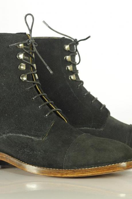 Bespoke Black Cap Toe Suede Ankle Boots for Men's