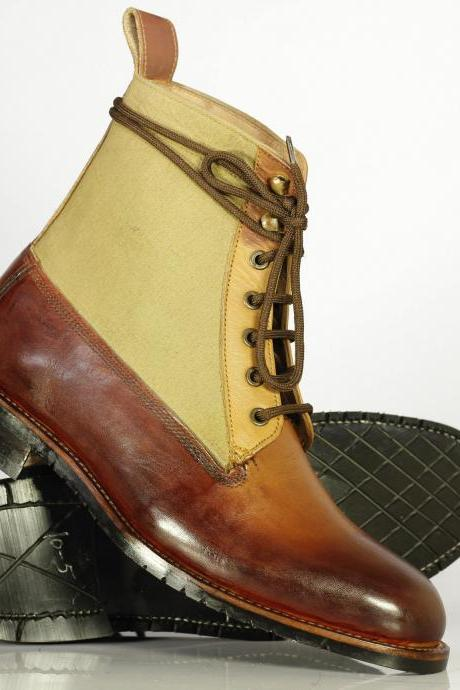 Bespoke Brown & Beige Leather Suede Ankle Boots for Men's