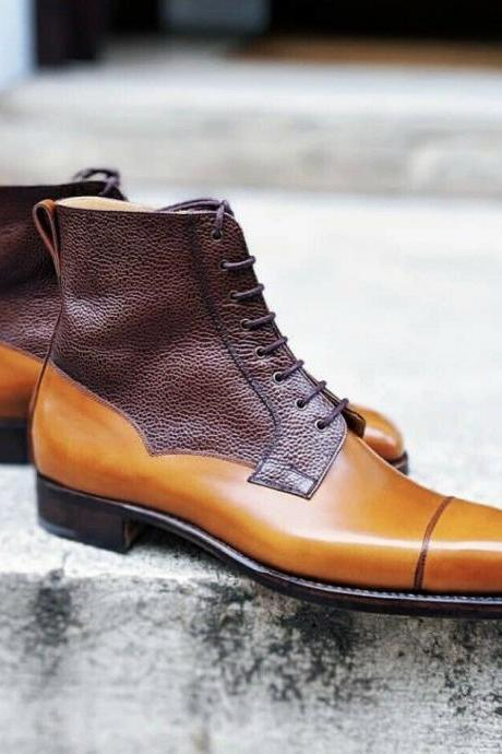 Handmade Tan & Brown Cap Toe Boot,Leather Boot,Men's Lace Up Dress Ankle High Boot