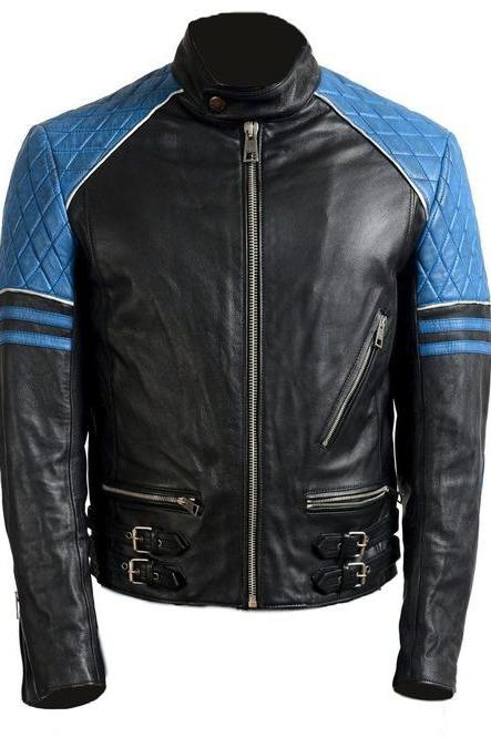 New Handmade Men Black Blue Leather Biker Jacket, Stylish Motorbike Design