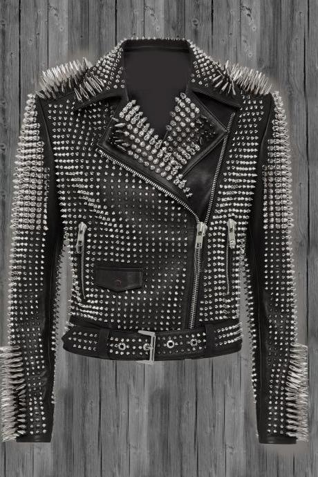 Black Studded Leather jacket for women, spiked leather jacket