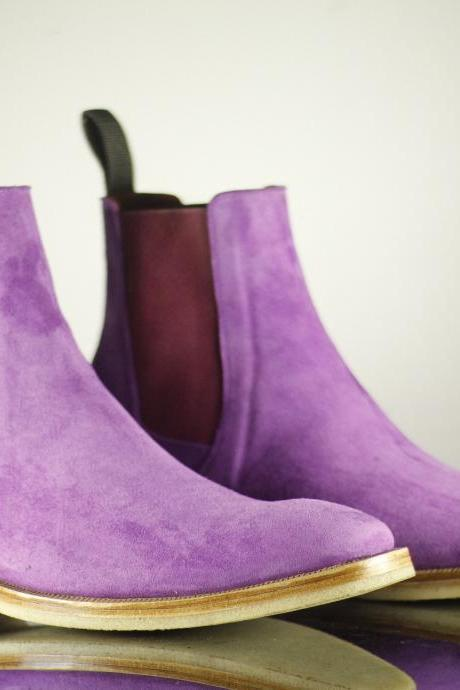 New Handmade Men Purple Chelsea Boot, Men Suede Leather Boot, Men's Boot