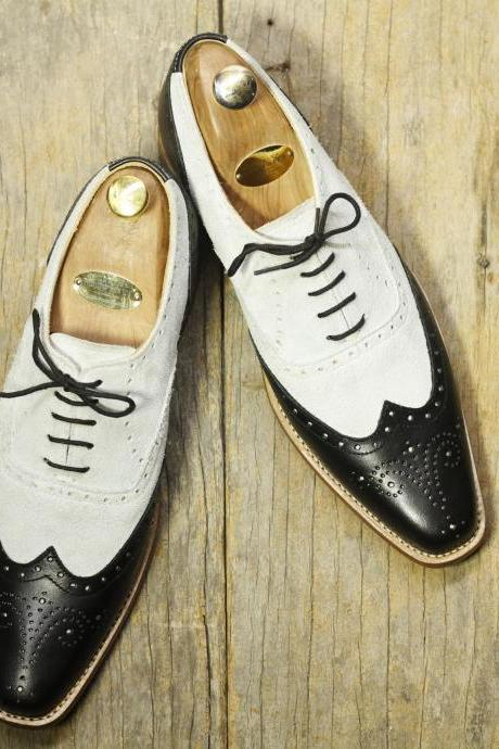 Handmade White Black Leather Suede Shoes, Men's Lace Up Wing Tip Oxford Shoes