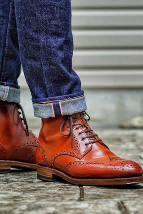 Handmade Brown Wing Tip Brogue Lace Up Boot, Men's Leather Ankle Boot