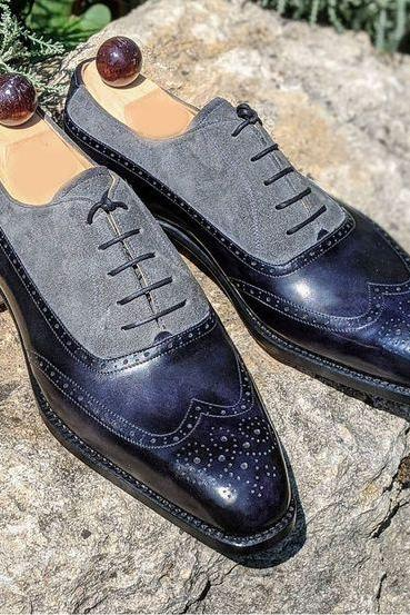 Handmade Navy Blue & Gray Suede Leather Shoes, Men's Wing Tip Lace Up Designing Shoes