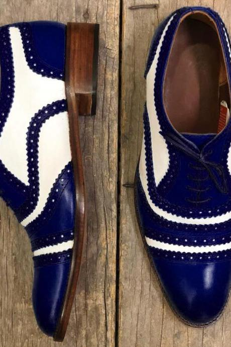 Men's Handmade White & Dark Blue Cap Toe Leather Lace Up Shoes