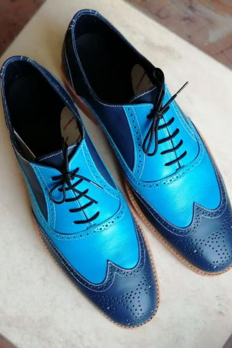 Handmade Blue Wing Tip Brogue Lace Up Leather Shoes, Stylish Dress Formal Shoes