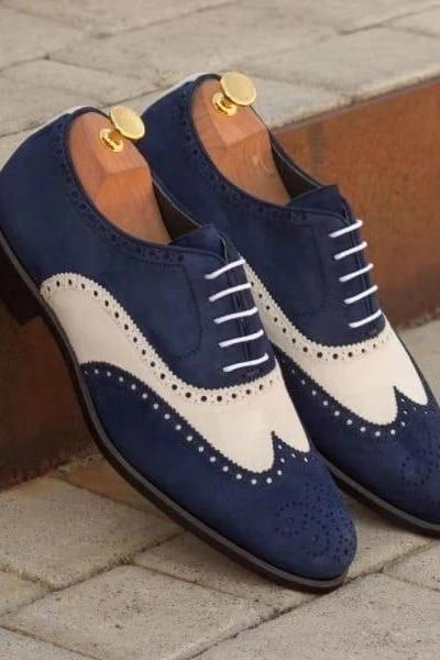 Handmade Blue & White Wing Tip Brogue Lace Up Suede Shoes, Stylish Dress Formal Shoes