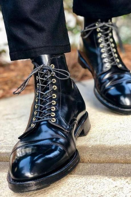 Handmade Black Leather Boot Men's Dress Designer Cap Toe Lace Up Boot