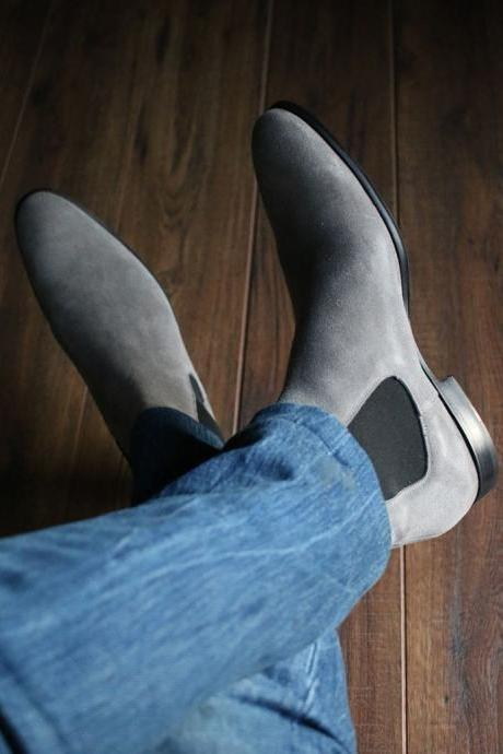 Handmade Gray Suede Chelsea Boot Men's Dress Designer Oxford Boot