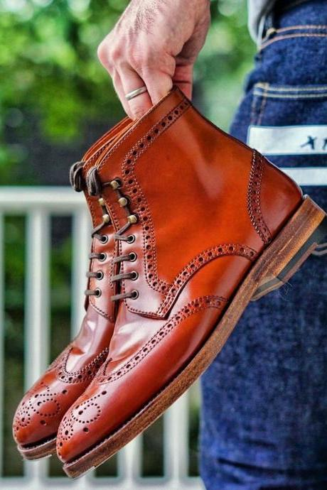 Handmade Brown Leather Boot Men's Dress Designer Wing Tip Lace Up Boot