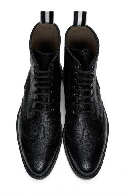 Handmade Black Ankle Wing Tip Pebbled Leather Lace Up Oxford Shoes