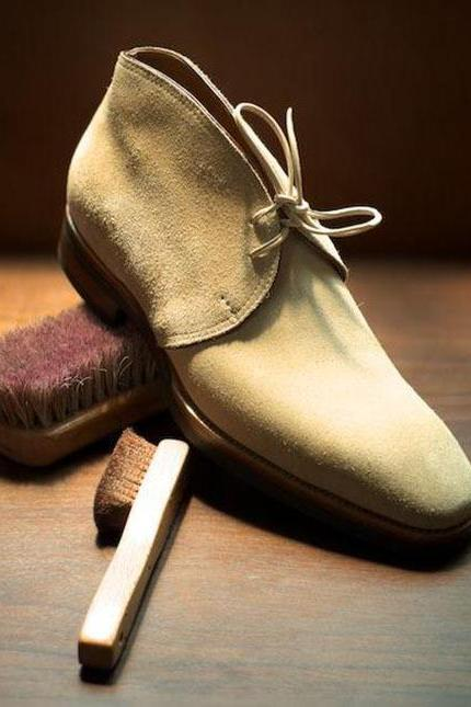 Handmade Beige Suede Boot,Chukka Ankle Boot,Oxford Boot
