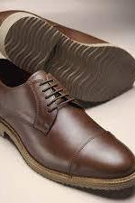 Handmade Brown Cap Toe Leather Lace Up Shoes,Men's Dress Shoes