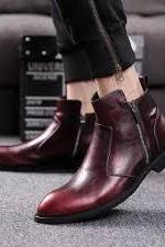 Handmade Burgundy Ankle Side Zipper Leather Boot,Oxford Dress Boot For Men's