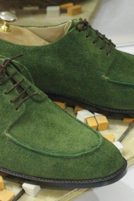 Handmade Green Suede Shoes, Lace Up Dress Shoes