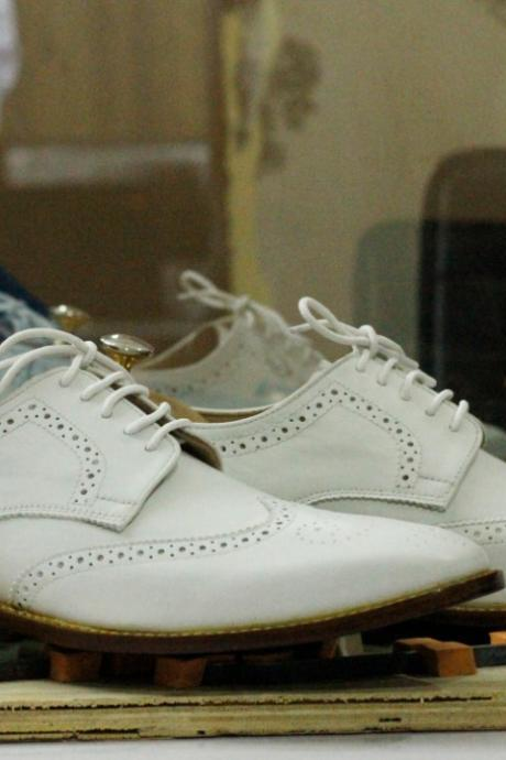 Handmade White Wing Tip Leather Shoes,Men Oxford Party Wear Shoes