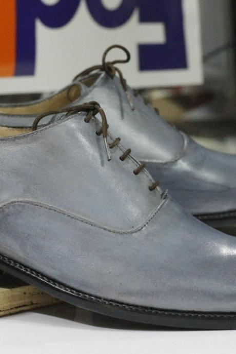 Handmade Gray Brogue Toe Leather Shoes,Men's Oxford Lace Up Shoes