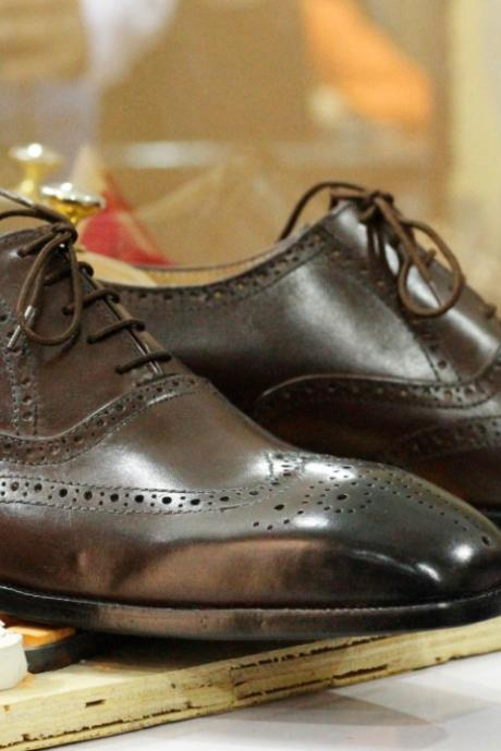Handmade Brown Wing Tip Brogue Leather Shoes,Men's Oxford Lace Up Shoes