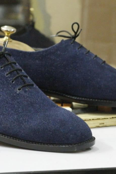 Handmade Blue Suede Shoes,Men's Oxford Lace Up Shoes