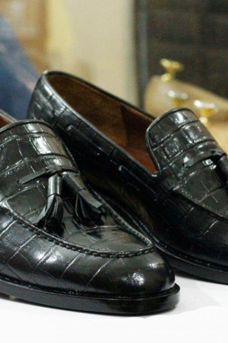 Handmade Black Alligator Leather Tussles Loafers Shoes For Men's