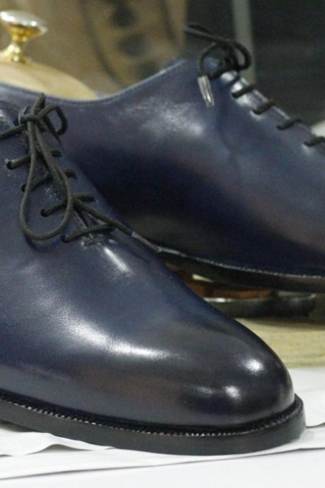 Handmade Blue Leather Lace Up Shoes,Men's Oxford Shoes,Party Dress Shoes