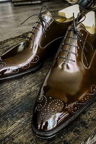 Handmade Brown Leathers Brogue Toe Lace Up Men's Shoes,Oxford Shoes