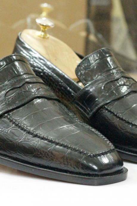 Handmade Black Alligator Leather Penny Loafers Shoes ,Men's Shoes, Oxford Shoes