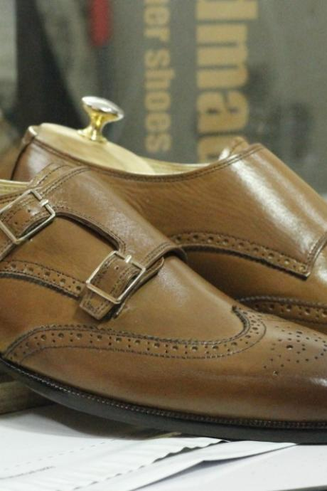 Handmade Brown Wing Tip Brogue Double Monk Straps Leather Shoes,Dress Shoes