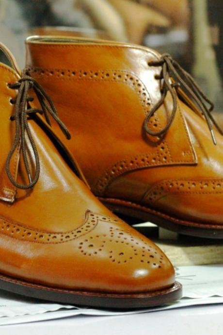 Handmade Tan Ankle Wing Tip Brogue Lace Up Boot,Men's Oxford Boot