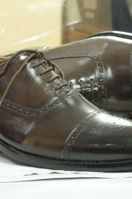 Handmade Brown Cap Toe Leather Lace Up Shoes,Dress Shoes