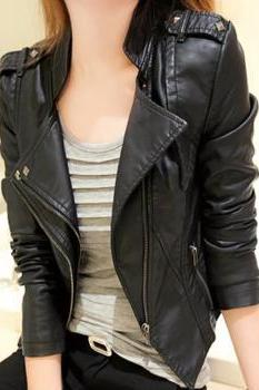 Women's Black Wide Color Motorcycle Soft Genuine Lambskin Leather Slim Fit Jacket