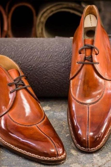 Handmade Brown Split Toe Leather Formal Dress Shoes For Men's