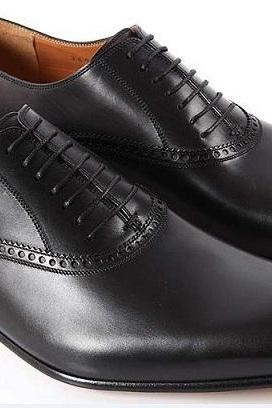 HANDMADE MEN BLACK LACE-UP LEATHER SHOES, MENS BLACK DRESS SHOES, MEN SHOES