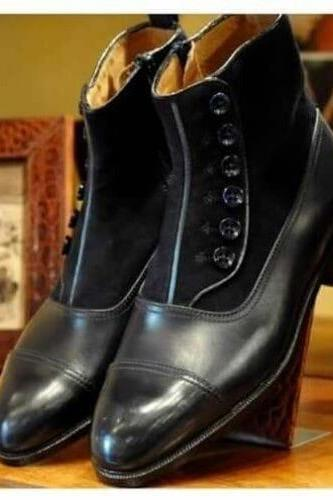 Handmade Black Cap Toe Ankle Button Top Leather & Suede Boot,Dress Boot