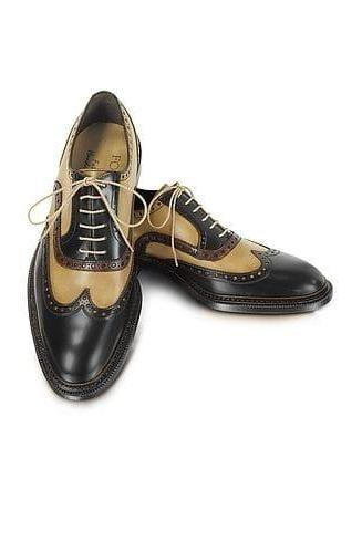 Handmade Black & Beige Leather Wing Tip Shoes,Men's Dress Shoes