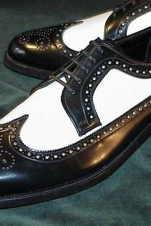 Handmade Black & White Leather Wing Tip Shoes,Men's Dress Shoes