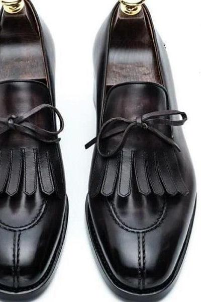 Handmade Black Split Toe Fringe Shoes, Men's Dress Shoes
