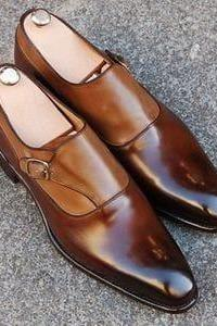 Handmade Brown Monk Straps Leather Party Wear Shoes,Men's Dress Shoes