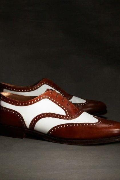 Handmade Leather Two Tone Wing Tip Shoes,Dress Shoes