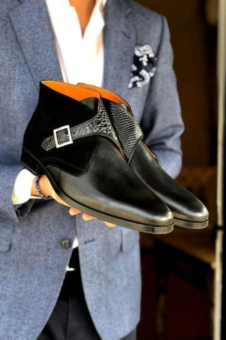 Handmade Black Monk Straps Leather & Velvet Boot,Men's Casual Dress boot